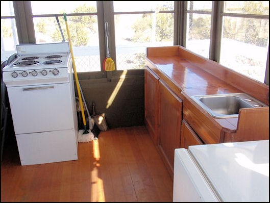 Electric stove, refrigerator and dry sink