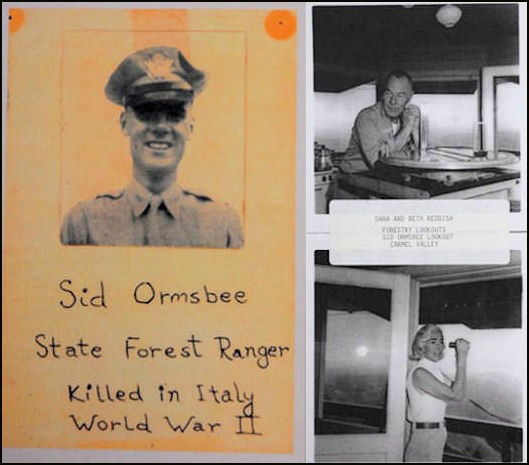 Photo of Sid Ormsbee and photos of former lookouts