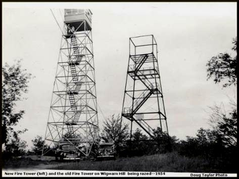 1954 photo of current tower and its predecessor