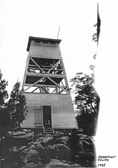 Photo of previous wooden tower in 1925