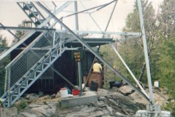 1992 photo of cabin and tower by Bob Spear