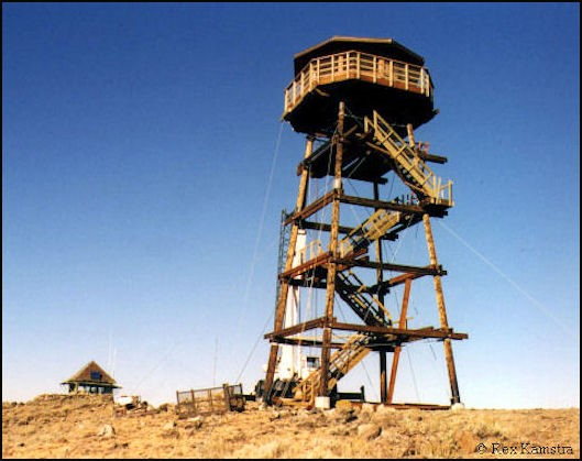 New 50' pole tower with octagonal cab with old lookout on lower left