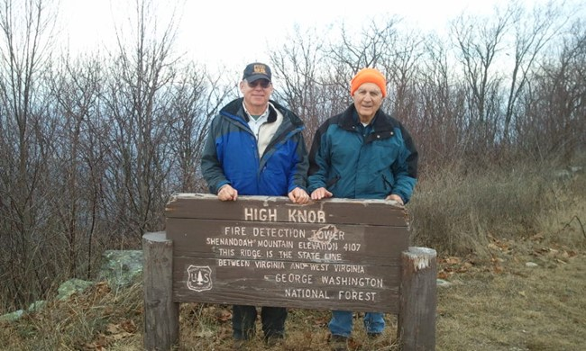 Former USFS rangers Bill Woodland and Charlie Huppuch at top of High Knob in December 2013